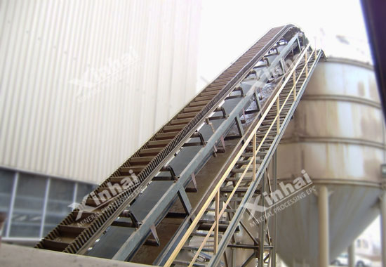 Xinhai belt conveyor with high inclination angle and waved guard side